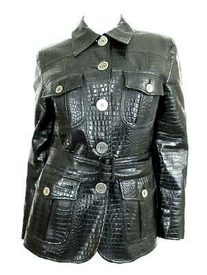 5f47c9dba4054 Moschino Cheap And Chic Black Embossed Faux Patent Leather Trench Jacket  Sz.44