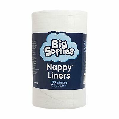 New Big Softies Bamboo Nappy Liners, White, 100 Count Free shipping