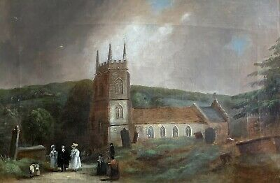 Early Victorian English Oil Painting - Elegant Figures Leaving Village Church