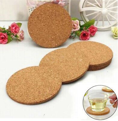 6x Cork Wood Drink Tea Coffee Silicone Cup Coaster Mat Pad Tableware Accessories