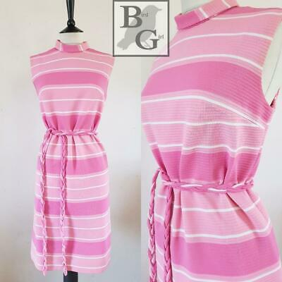 Mod Chic 1960S Vintage Pink & White Striped Retro Scooter Shift Dress 12 M