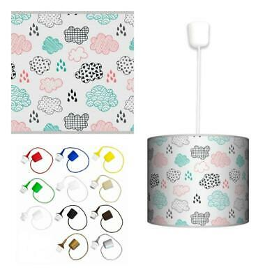 Ceiling Lampshade Lightshade/Chandeliers Cylinder Drum 30cm + Light Cable CLOUDS