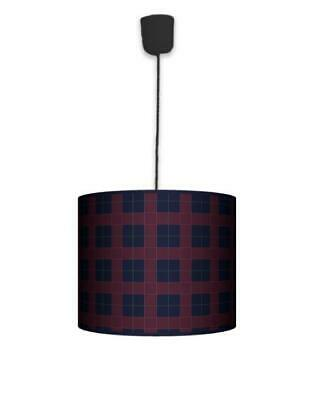 Ceiling Lampshade Lightshade/Chandeliers Cylinder Drum + Light Cable (Cheq RED)