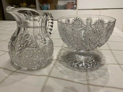 American Brilliant Cut Crystal large cream and raised sugar bowl
