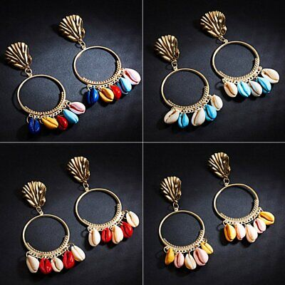 Fashion Bohemia Boho Shell Tassel Earrings Stud Metal Dangle Drop Summer Charm