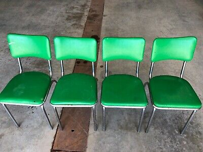 Vintage  Mid Century  Retro Dinette Chrome Vinyl Set Of 4 Kitchen Chairs Green