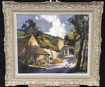 Robert Falcucci (1900-1989) Large Signed French Oil - Farmyard Landscape - Frame