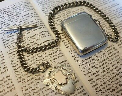ANTIQUE SOLID SILVER FULLY H/M POCKET WATCH CHAIN, FOB & VESTA CASE. 99grms +