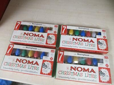 VINTAGE LOT of 4 NOMA C-9 SAFETY PLUG CHRISTMAS 7 LIGHT SET - NOS