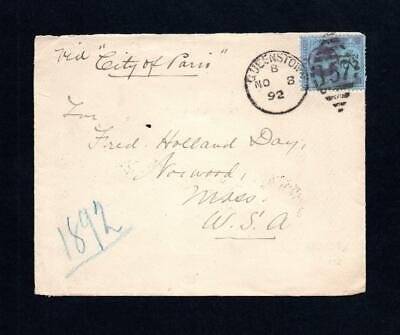 IRELAND POSTAL HISTORY: 21/2d JUBILEE ON 1892 CUNARD COVER QUEENSTOWN TO USA