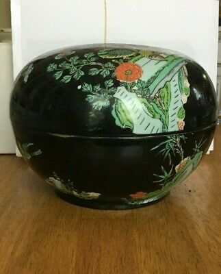 Antique Japanese Rice Bowl Made of Porcelain with Lid