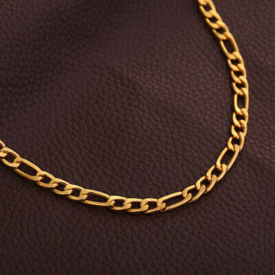 24inch Long 18K Yellow Gold Filled Link Cuban Chain Necklace Hip-hop Jewelry