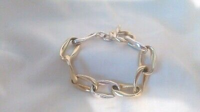 """Sterling Silver 7"""" Two-Tone Ribbed and Polished Link Bracelet"""