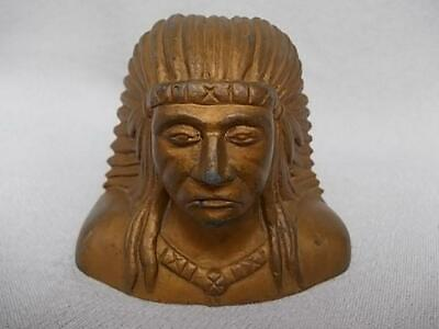 936 /  Antique Gilded Cast Spelter Head Of An American Native Indian