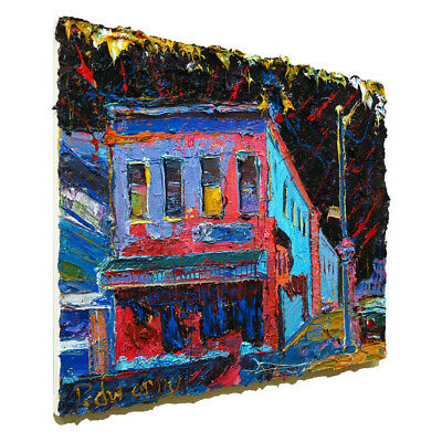 Modern█Original█Oil█Painting█Vintage█Impressionist Art Abstract█Cityscape House