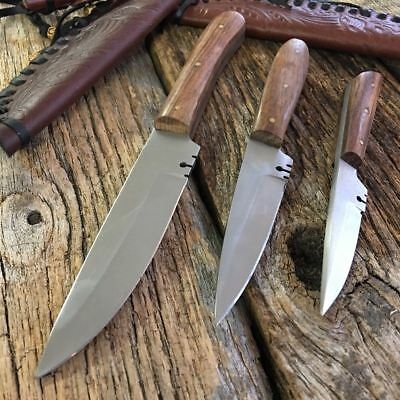 3PC ASSORTED Patch Knife Fixed Blade Hunting Knife Leather Sheaths Full TANG m