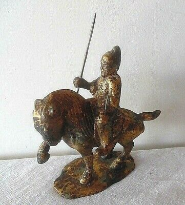 Heavy Cast Iron Japanese Samurai On Horseback Sculpture