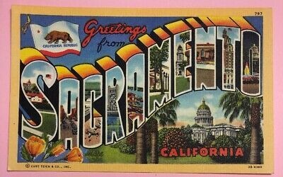 GREETINGS FROM SACRAMENTO CALIFORNIA ~ C1935 Unposted Vintage Linen Postcard