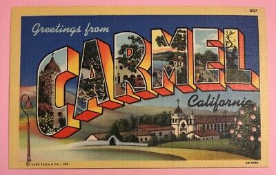 GREETINGS FROM CARMEL CALIFORNIA ~ C1935 Unposted Vintage Linen Postcard