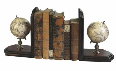 G325: Pair Decorative Globe Bookends with Terrestrial and Sky Globe