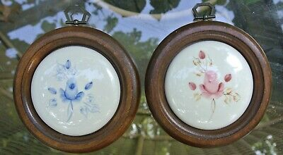 """Vintage Lasting Products Inc.Wood Round Frames with Ceramic Plates 6"""""""
