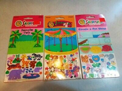 Vintage Lot of 3 80's Sandylion Sticker Designs-Carousel,Jungle Fun, & Pet Shop