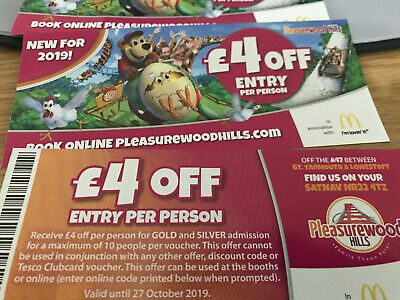 pleasurewood hills Experience Days Gift Vouchers x 4 £4 off each person 4 more