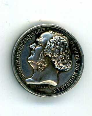 FRENCH SMALL SILVER MEDAL 1844, MARQUIS de la ROCHEJAQUELEIN marked ARGENT
