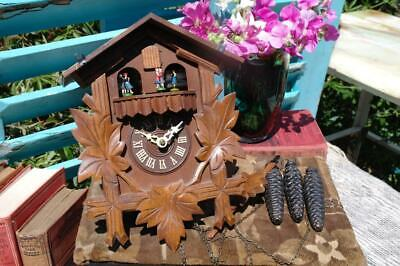 Vintage Cuckoo Clock German Black Forest With Dancing People And Music Box WORKS