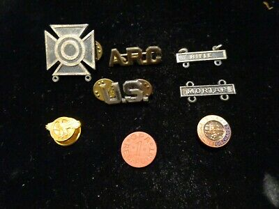 Vintage Junk Drawer Lot Military Pins Medals Rifleman Badge Token Ruptured Duck