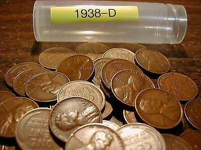 1938-D Lincoln Wheat Cent Penny Roll, 50 Coins, Good-Very Fine