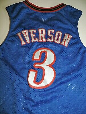 sports shoes 6f5ae fc8cc ALLEN IVERSON #3 Philadelphia 76ers SIXERS jersey YOUTH med vtg Nike sewn  blue