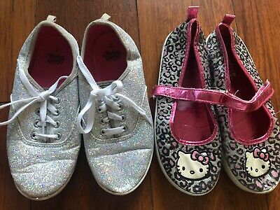 2 pair girls SHOES used SPARKLE GLITTER SNEAKERS mary jane hello kitty SIZE 2