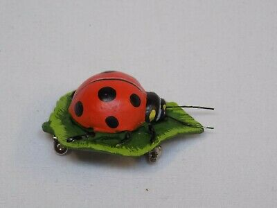 Lady Bug Jewelry Large Pin Broach On Leaf Red Polka Dot Realistic Animal Design
