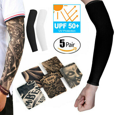 10Pcs Cooling / Tattoos Arm Sleeves Sun UV Protection Cover Sport Basketball USA