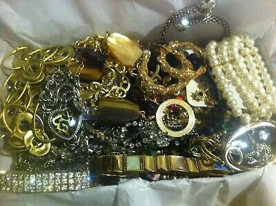 Vintage To Now Estate Find Jewelry Lot Junk Drawer Unsearched Untested Wear #122