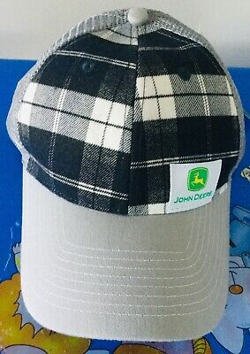 John Deere Cap Grey Tartan Pattern Licensed Product One Size Fits Most