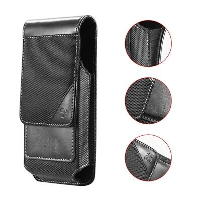 For Galaxy S9+ Leather Nylon Sport Design Wallet Pouch Case with Belt Clip Black