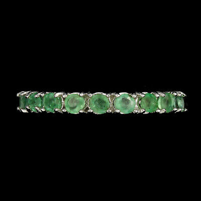 Unheated Round Green Emerald 2.5mm Natural 925 Sterling Silver Eternity Ring
