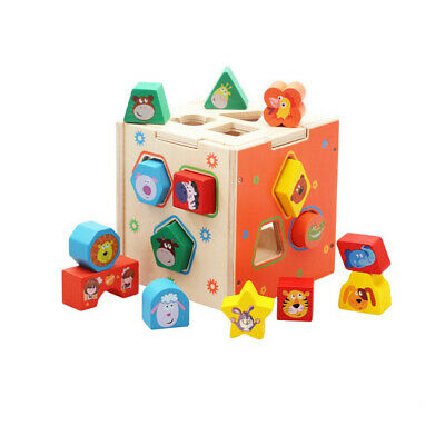 Baby Blocks Shape Sorter Toy-Childrens Blocks Includes 15 Shapes Educational Toy