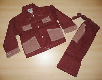 VINTAGE UNWORN 1970's BOYS BURGUNDY DENIM JACKET & TROUSER SUIT 5 to 8 YEARS