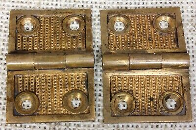 "2 old decorated Hinges door 1877 PATENT vintage shutter 1 1/4 x 1 3/4"" bronze"