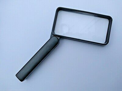 Large 100mm rectangular Magnifier reading magnifying glass folding handle NEW