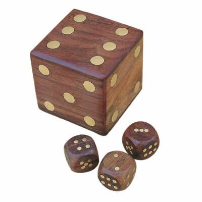 G4678: Nautical Dice Box,Game in Maritime Wooden Box Made of Precious Wood,Brass