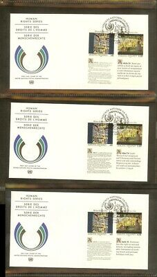 [A15_075] 1992 - VN/UNO Vienna FDC Mi. 139-140 (3xseries) - Human rights series