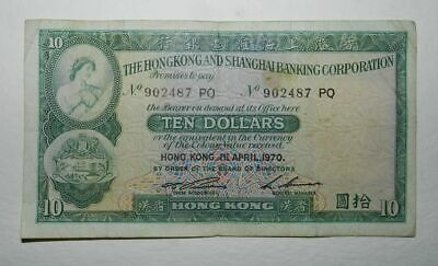 HONG KONG & SHANGHAI 10 DOLLARS BANKNOTE 1st April 1970
