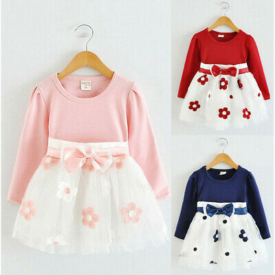 Toddler Kids Baby Girls Long Sleeve Tulle Patchwork Flower Bow Dresses Clothes d