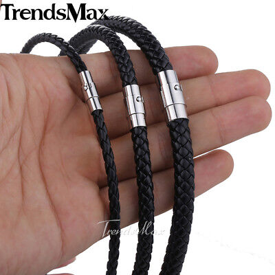Mens Womens Man-made Leather 4/6/8mm Black Braid Rope Cord Magnet Chain Necklace