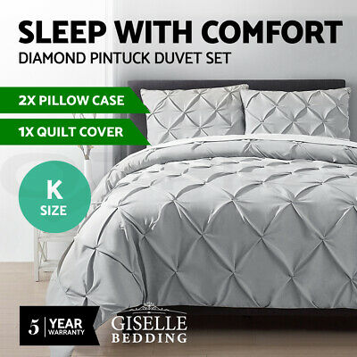 Giselle Bedding Quilt Cover Set King Pinch Pleat Diamond Bed Duvet Doona Grey