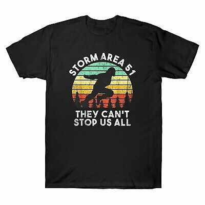 Storm Area 51 They Can't Stop All of Us UFO Alien Bigfoot Retro Men's T-Shirt